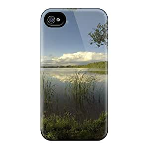 For Iphone 4/4s PC Phone Case Cover(early Morning Lake Fishing Spot View)