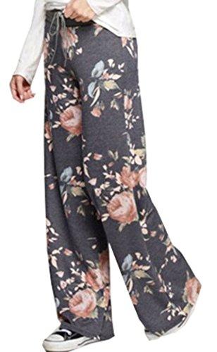 a Pantaloni Gamba Larga Yeesea Stampa Casual Yoga Eleganti Grigio Palazzo Baggy scuro Legging Coulisse Pantaloni Larghi Donna x6w0qC6Y