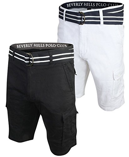 - Beverly Hills Polo Club Men\'s Belted Stretch Cargo Short (2 Pack) (Black/White, 32)'