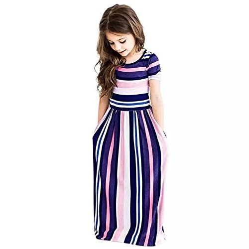 Girl's Summer Short Sleeve Stripe Holiday Dress Maxi Dress with Pocket Size 0-7T (6-7Years, Stripe Purple)