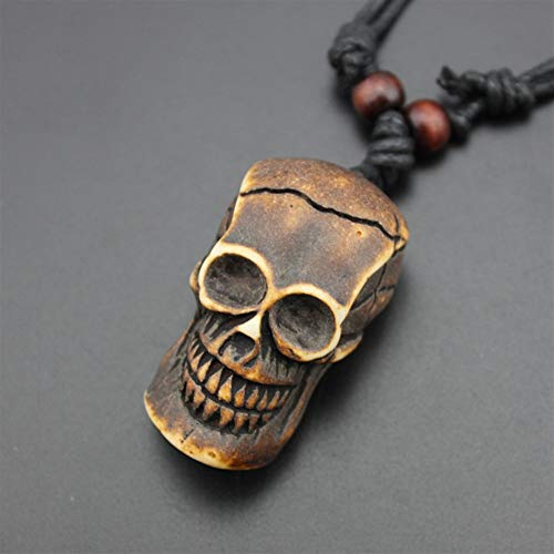 (YChoice of Lovely Cosmetics Toy Vintage Imitation Bone Carving Skull Pendant Necklace -Brown )