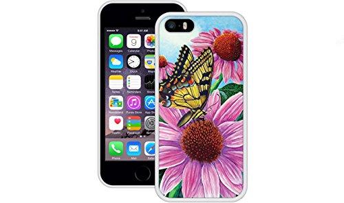 Schmetterlings Blumen | Handgefertigt | iPhone 5 5s SE | Weiß TPU Hülle