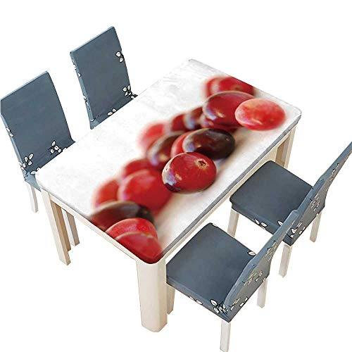 PINAFORE Table in Washable Polyeste Fresh red Cranberries Macro on White Background Banquet Wedding Party Restaurant Tablecloth W53 x L92.5 INCH (Elastic Edge)