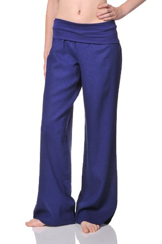 Beachcoco Women's Fold Over Comfortable Wide Linen Pants