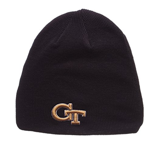 ZHATS Georgia Tech Yellow Jackets Navy Blue Edge Skull Cap - NCAA Cuffless Winter Knit Beanie Toque Hat (Georgia Tech Knit)