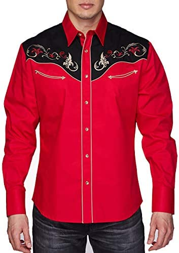 Rodeo Clothing Men's Embroidered Western Inspired Long Sleeves Button Down Dress Shirt