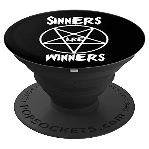 Sinners are Winners Pentagram Black Metal Fans, Halloween - PopSockets Grip and Stand for Phones and Tablets ()