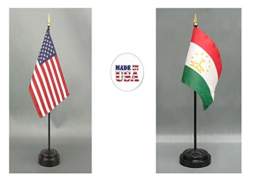 "Made in the USA. 1 American and 1 Tajikistan 4""x6"" Miniature Desk & Table Flag, Includes 2 Flag Stands & 2 Small Mini Stick Flags"