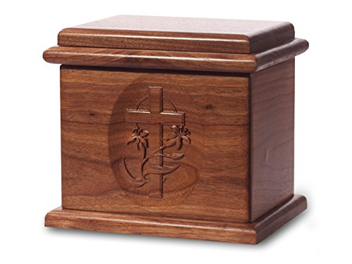 Cremation Urn - Deluxe Oak Wood with Black Walnut Stain - Cross - Oak Urn Cremation Wood