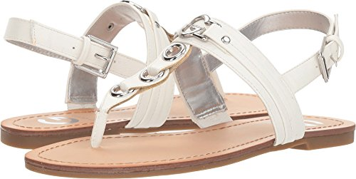 G by GUESS Womens Lesha Faux Leather T-Strap Flat Sandals White 10 Medium (B,M)