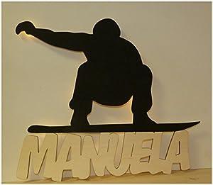 Schlummerlicht24 Nachtlicht Snowboard mit Name nach Wunsch, ideales Geschenk...