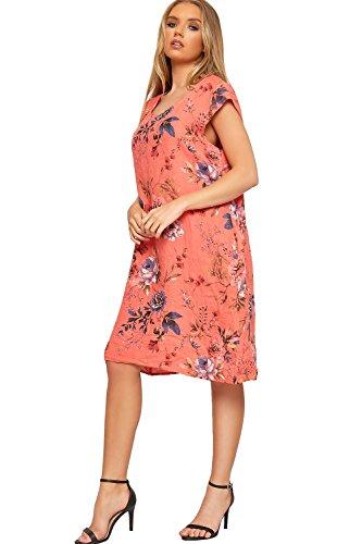 Wearall Womens Imprimé Floral Robe Sans Manches Côtelé Linge De Poche Ample Tunique Corail Boho