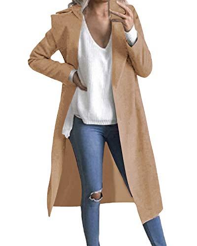 Auxo Women Trench Coat Long Sleeve Pea Coat Lapel Open Front Long Jacket Overcoat Outwear Cardigan Camel M