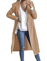 Women Trench Coat Long Sleeve Pea Coat Lapel Open Front Long Jacket Overcoat Outwear Cardigan