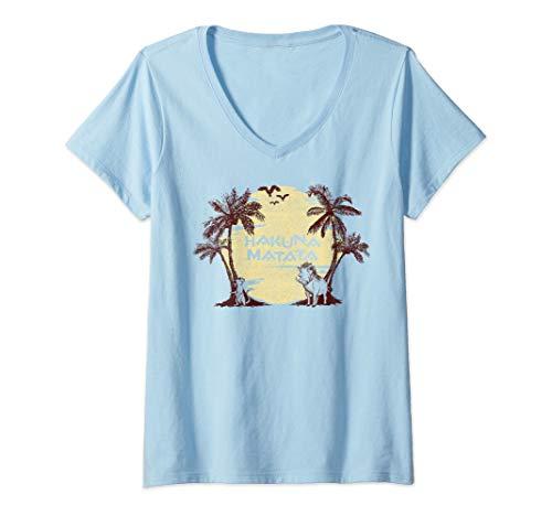 (Womens Disney The Lion King Timon And Pumba Hakuna Matata V-Neck T-Shirt)