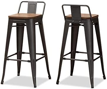Baxton Studio Bar Stools, One Size, Oak Brown Gun