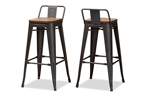 Baxton Studio Set of 2 150-9126-AMZ Bar Stools, One Size, Oak Brown/Gun ()