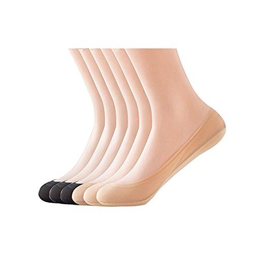 KEALLI Women's No Show Liner Invisible Non Slip Nylon Hidden Socks(4 Pairs)(2Black+2Beige,9-11)