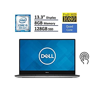 Dell XPS 13 9360 Laptop (13.3 InfinityEdge TouchScreen FHD (1920x1080), Intel 8th Gen Quad-Core i5-8250U, 128GB M.2 SSD, 8GB RAM, Backlit Keyboard, Windows 10)- Silver