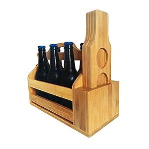 Wooden 6-Pack Beer Carrier / Holder / Tote, Comes With Two Beer Flights, Holder, Mounted Bottle Opener