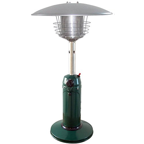 Garden Sun GS3000GN Table Top 11,000 BTU Propane Powered Patio Heater With Push Button Ignition, Green