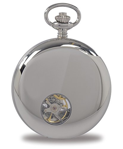 Rapport-of-London-Silver-Tone-Chrome-Demi-Hunter-Pocket-Watch-with-17-Jewel-Movement