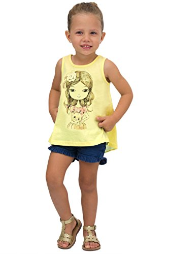 Pulla Bulla Toddler Girl Tank Top Graphic Sleeveless Shirt 4T Lemon Kitty Shirt Top