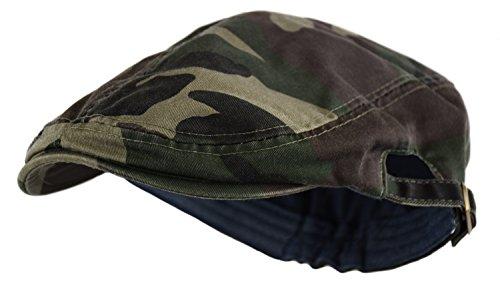Deewang Fashion Cotton Cabbie Hat Buckle Golf Ivy Colorful Newsboy Driving Cap (Camo-Green)