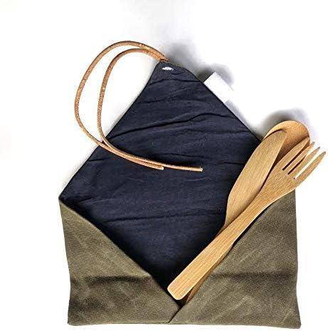 etee - Cubertería de bambú con funda de lona de algodón encerado ...