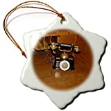3dRose Jos Fauxtographee- Old Phone at Mizpah - an Old Telephone That Sits on a Desk at The Mizpah Hotel in NV - 3 inch Snowflake Porcelain Ornament (ORN_291060_1)