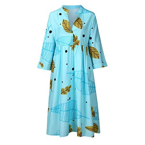 Haalife◕‿Women Cotton Linen Dresses Summer Short Sleeve Sundresses Summer Daily Pullover -