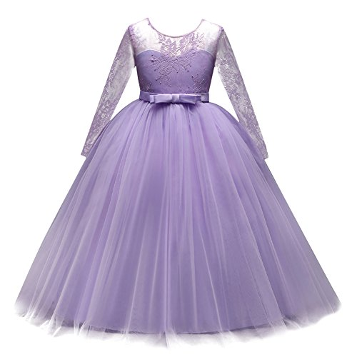 IBTOM CASTLE Flower Girl Junior Bridesmaid Long Sleeve Lace Party Wedding Formal Dance Gown Princess Sweetheart Dress Dancewear Costume Lavender 12-13 Years
