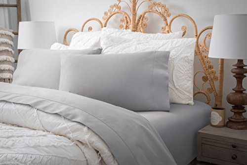 Magnolia Organics Estate Collection Sheet Set - Queen, Silver Snow