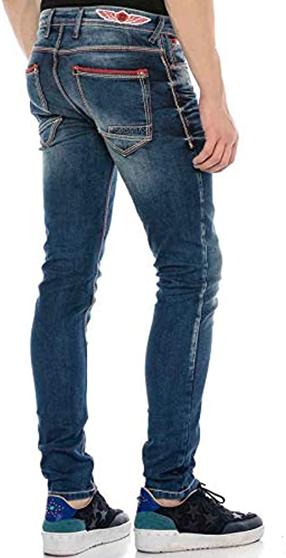 Cipo & Baxx dżinsy męskie spodnie Regular Slim Fit Denim dżinsy grube szwy niebieskie W36 L34: Odzież