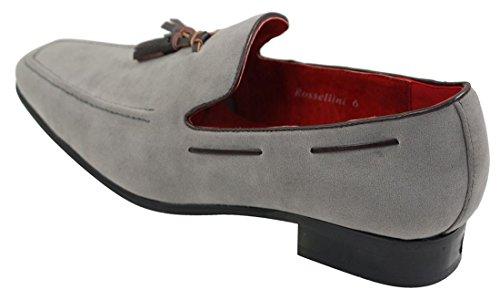 Driving Suede In Slip Pelle Design Grigio Smart Mocassini Rossellini Tassle Casual Shoes Mens On Z11twg