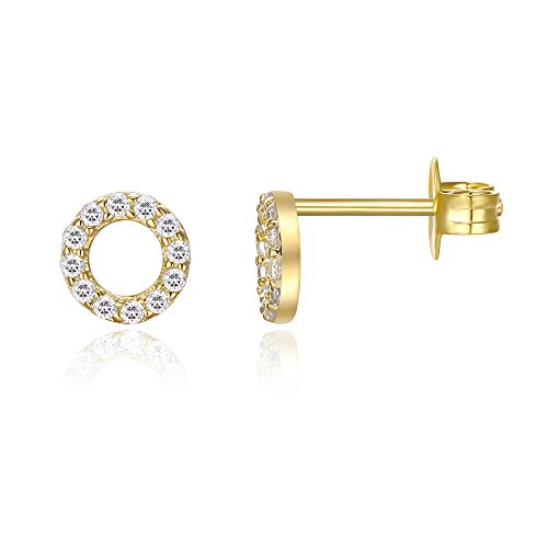 PAVOI CZ Stud Earrings: 14K Gold Plated Dainty Mini Halo Stud Earrings (Yellow)