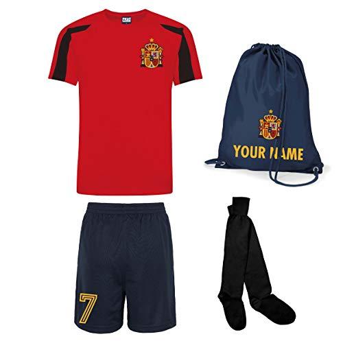 Print Me A Shirt Conjunto de Fútbol Selección Española Personalizable para Niños, Camiseta, Pantalones Cortos…
