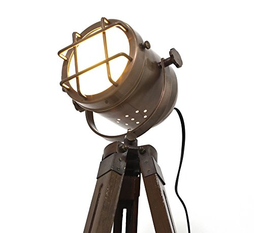 Copper finish antique tripod lamp portable office ligting décor low floor...