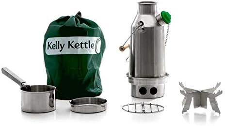 Trekker Kelly Kettle® - Kit básico de tetera de acero inoxidable (0,6 litros, silbato y juego de cocina de acero + soporte para olla de acero) Sin ...