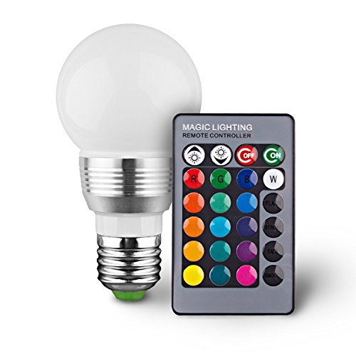 Superdream E27 3W RGB LED Light Bulb 16 Colors Changing Dimmable Multi Color LED Light with IR Remote Control for Home Decoration Bar Party KTV Mood Lighting