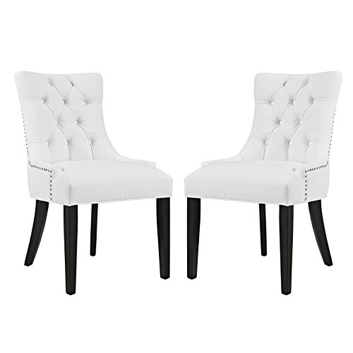 (Modway Regent Modern Elegant Button-Tufted Upholstered Vinyl Two Dining Side Chair Set With Nailhead Trim in White)