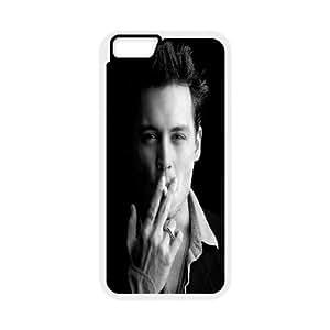 IPhone 6 Plus Case, Antishock Johnny Depp Smoking Case for IPhone 6 Plus {White}