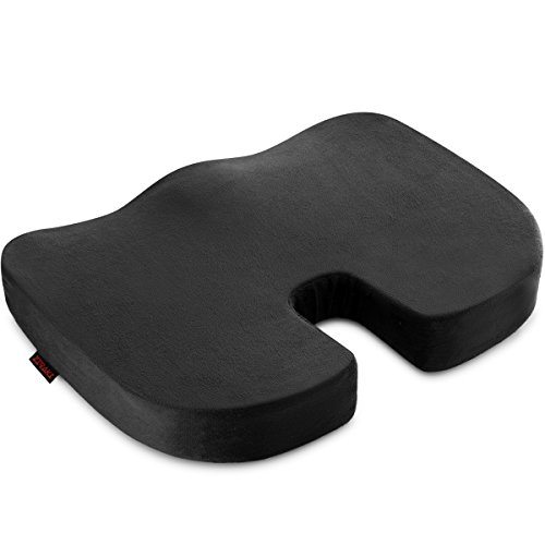 Orthopedic Seat Cushion (Coccyx Seat Cushion Orthopedic, Luxury Chair Pillow, 100% Memory Foam, For Back Pain Relief & Sciatica & Tailbone Pain Back Support - Ideal Gift For Home Office Chair Car Truck Driver, Washable Cover)