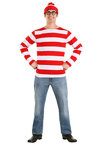 Cartoon Character Costume Ideas Adults (elope Where's Waldo Adult Costume Kit, Red/White,)