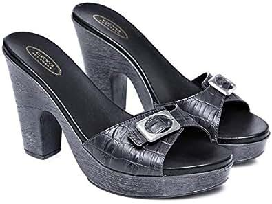 Ceyo Black Wedge Sandal For Women