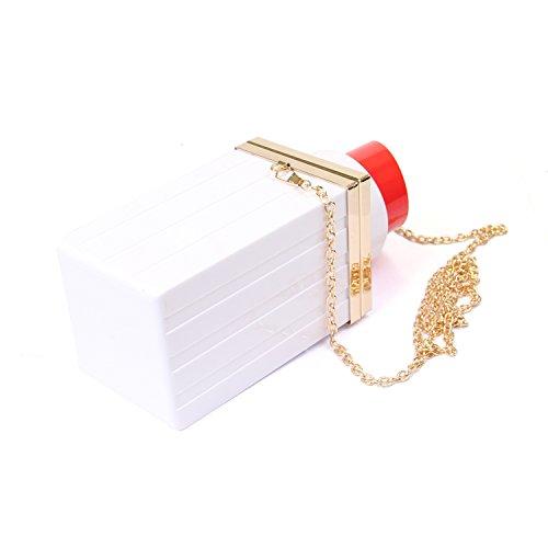 Clutch SUI Womens Handbag White Evening Acrylic Banquet Purses Lipstick Bags LUI Shape 2017 Vintage 6zxZww