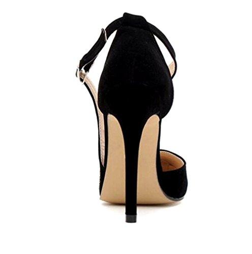 WSK Women's high-heeled sandals Buckle strapped dress sandals High-heeled fish sandals High-heeled shoes Black 3tT13