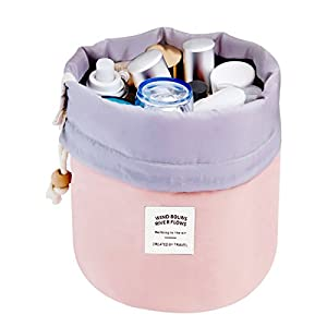 Travel Cosmetic Bags Barrel Makeup Bag,Women &Girls Portable Cosmetic Cases,Euow Multifunctional Toiletry Bucket Case Make up Organizer Storage pocket Soft Collapsible ,Waterproof (Pink)