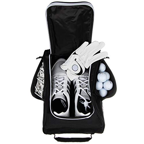 Stripe Golf Shoe Bag - Zipper Shoe Carrier Tote Bag with Mesh Ventilation - Side Pockets for Golf Balls, Tees and Other ()