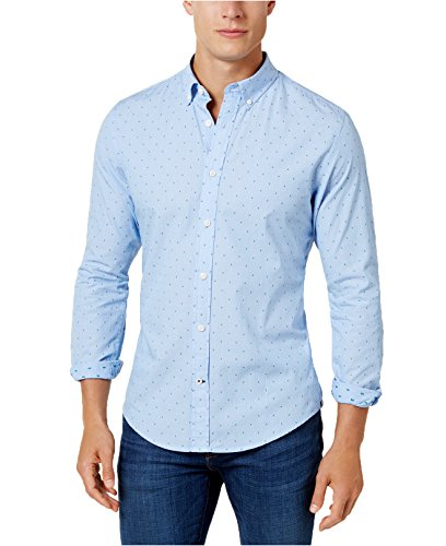 Tommy Hilfiger Men's Custom-Fit Micro-Stripe Dot-Pattern Shirt (Large, Blue/Green) -
